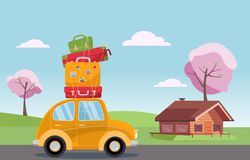 Spring road trip on small retro yellow car with colorful suitcases on the roof. Spring landscape with blooming trees and a wooden vector illustration