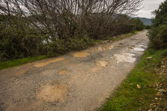 Spring roads after heavy rain at Evbia, Greece Stock Images