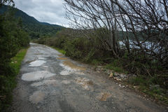 Spring roads after heavy rain at Evbia, Greece Royalty Free Stock Photography