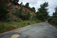 Spring roads after heavy rain at Evbia, Greece Stock Photography