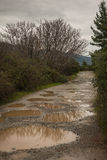 Spring roads after heavy rain at Evbia, Greece Royalty Free Stock Photo