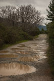 Spring roads after heavy rain at Evbia, Greece Royalty Free Stock Image