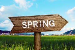 Spring roadsign Stock Photo
