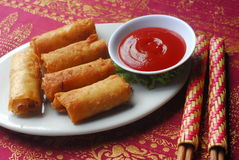 Spring roll. Fried spring roll with tomato sauce stock photo