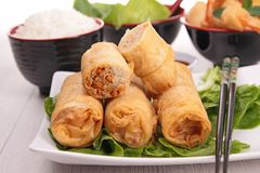 Spring roll. Chinese food, spring roll and rice Stock Photo