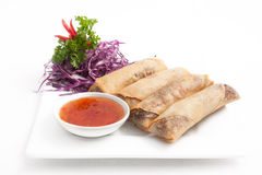Spring roll. Thai popular entree, spring roll and sweet chili sauce Royalty Free Stock Photo