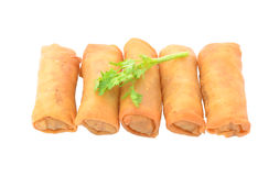 Spring Roll also known as Egg Roll isolated on white. Royalty Free Stock Photos