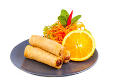 Spring Roll also known as Egg Roll on white background Stock Photography