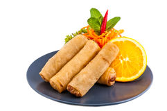 Spring Roll also known as Egg Roll on white background Royalty Free Stock Image