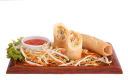 Spring roll with chilli sauce Royalty Free Stock Photos