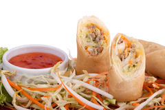 Spring roll with chilli sauce Stock Image