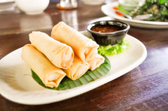 Spring roll. Dish on the table Royalty Free Stock Image
