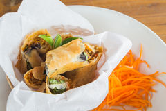 Spring roll. On the dish white Royalty Free Stock Image