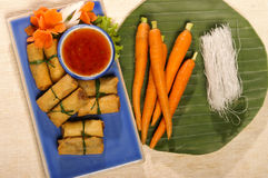 Spring roll fried serve with sweet source and carrot Stock Photography