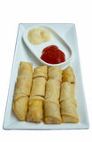 Spring roll fried and tomato sauce. Isolated on white background Stock Image