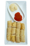 Spring roll fried and tomato sauce. Isolated on white background Stock Images