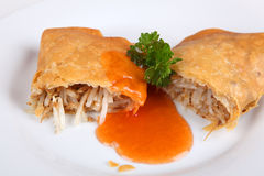 Spring roll. On a plate Stock Photos