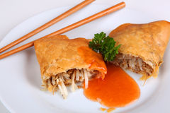 Spring roll. On a plate Stock Images