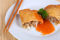 Spring roll. On a plate Stock Photo
