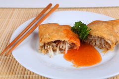 Spring roll. On a plate Royalty Free Stock Image