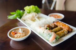 Spring roll with pork, fried shrimp with sugar cane and vegetabl Royalty Free Stock Photos