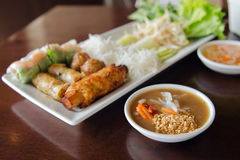 Spring roll with pork, fried shrimp with sugar cane and vegetabl Royalty Free Stock Image