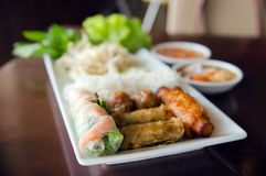Spring roll with pork, fried shrimp with sugar cane and vegetabl Royalty Free Stock Photo