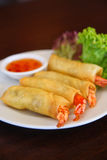 Spring roll prawn. Popular appetizer of Thai food, spring roll with prawn Royalty Free Stock Image