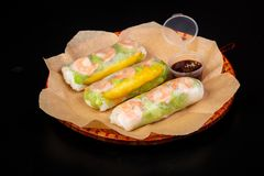 Spring roll with prawn. Vietnamese cuisine - Spring roll with prawn stock photos