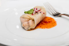 Spring Roll in Rice Paper with Sauce Stock Image