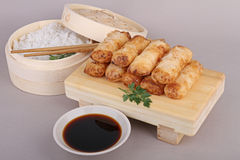 Spring roll, rice and sauce Royalty Free Stock Photos