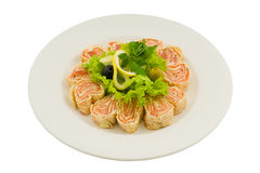 Spring roll with salmon and cheese. Stock Photo