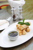 Spring roll with sauce Stock Photos