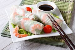 Spring roll with shrimp and sauce on a plate. horizontal Royalty Free Stock Photo