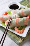 Spring roll with shrimp and sauce on a plate. Vertical Royalty Free Stock Image