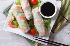 Spring roll with shrimp and sauce top view horizontal Royalty Free Stock Photography
