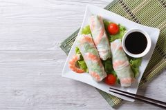Spring roll with shrimp and vegetables, top view Royalty Free Stock Photo