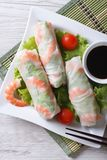 Spring roll with shrimp and vegetables, top view vertical Royalty Free Stock Photography