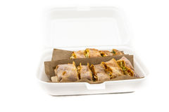 Spring Roll Takeaway. Asian spring roll takeaway in a styrofoam packaging Royalty Free Stock Image