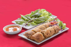 Spring roll. Thai food eat with vegetables Stock Image