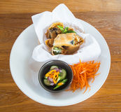 Spring roll. Of thai food with white disk Stock Photos