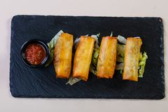 Spring roll with sauce. Spring roll with tomato sauce stock photos