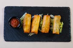 Spring roll with sauce. Spring roll with tomato sauce stock images