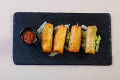 Spring roll with sauce. Spring roll with tomato sauce royalty free stock photo
