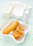 Spring roll in white plate Royalty Free Stock Images
