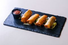 Free Spring Roll With Sauce Royalty Free Stock Images - 128068039