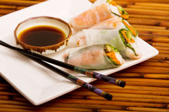 Spring rolls. Plate of Japanese spring rolls stock photos