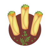 Spring Rolls. Three spring rolls in red circle stock illustration