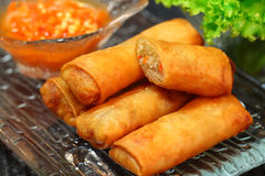 Spring rolls. On clear dish Royalty Free Stock Photography