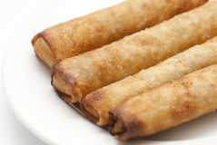 Spring rolls. Some spring rolls in a white plate Stock Images